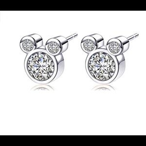 Mickey Mouse cz 14k white gold plated earrings New